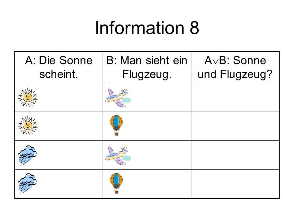 Information 8 A: Die Sonne scheint. B: Man sieht ein Flugzeug. A  B: Sonne und Flugzeug?