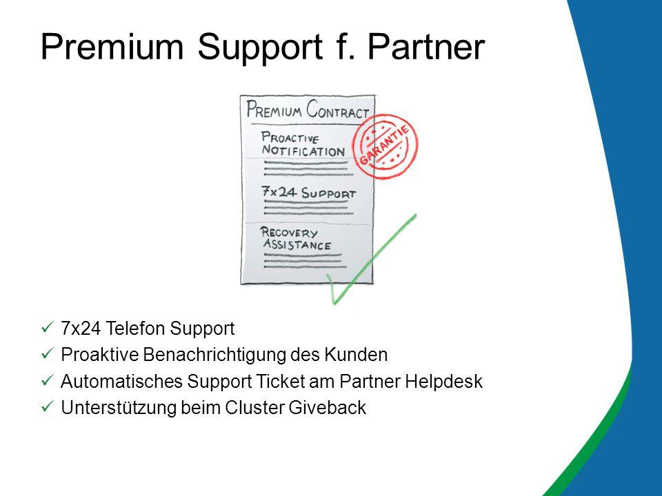 7x24 Telefon Support Proaktive Benachrichtigung des Kunden Automatisches Support Ticket am Partner Helpdesk Unterstützung beim Cluster Giveback Premium Support f.
