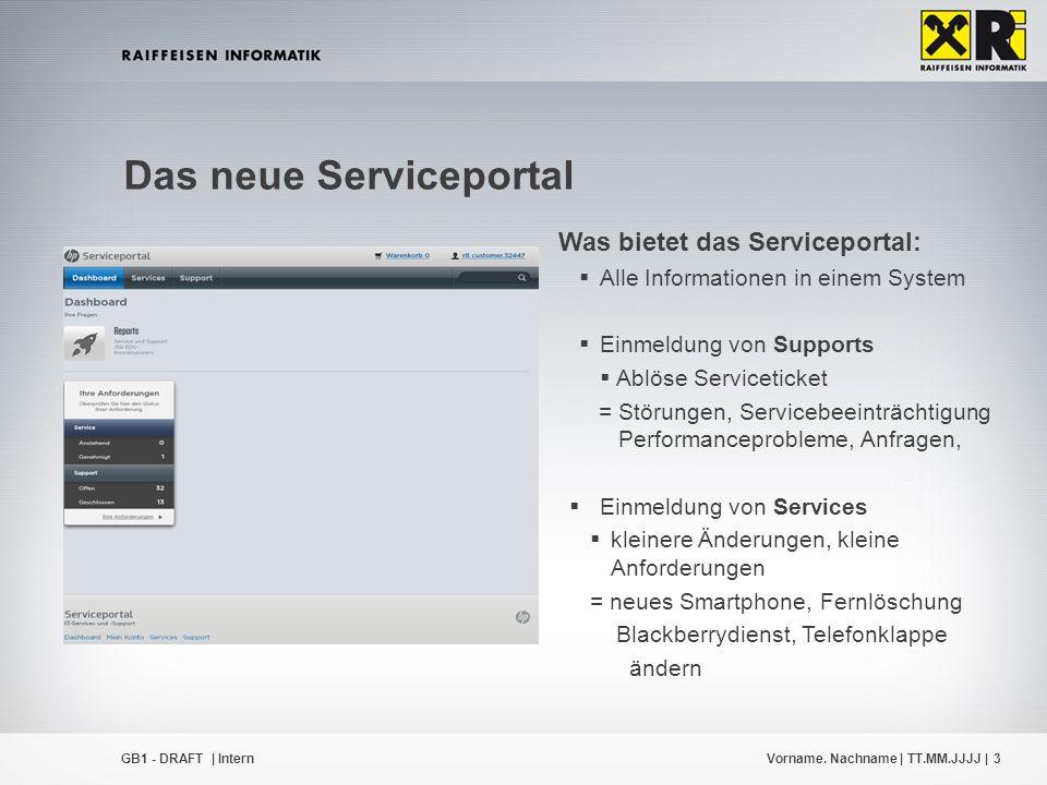 Vorname. Nachname | TT.MM.JJJJ |3GB1 - DRAFT | Intern Das neue Serviceportal Was bietet das Serviceportal:  Alle Informationen in einem System  Einm