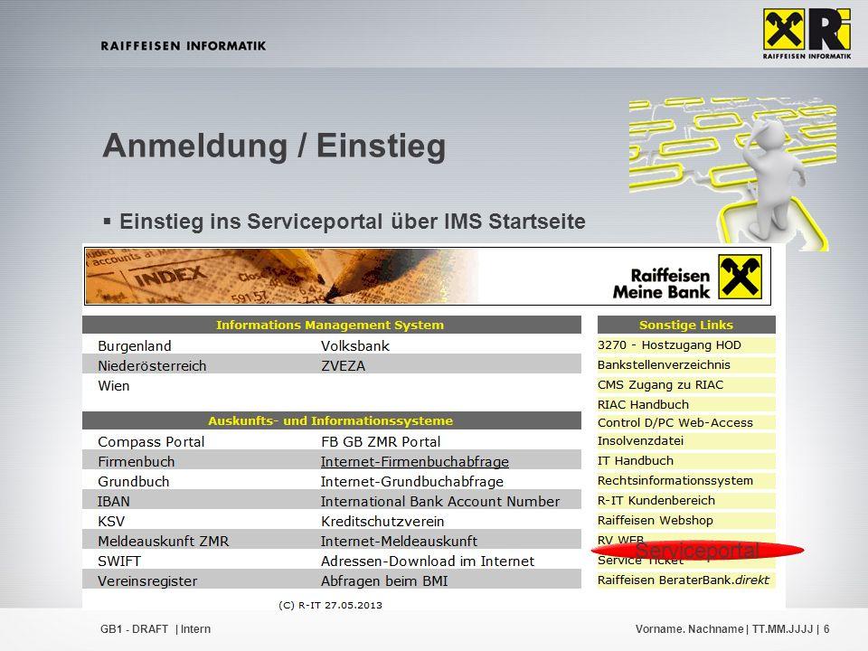 Vorname. Nachname | TT.MM.JJJJ |6GB1 - DRAFT | Intern  Einstieg ins Serviceportal über IMS Startseite  IMS Startseite  Kundenzone  jeweilige Domän