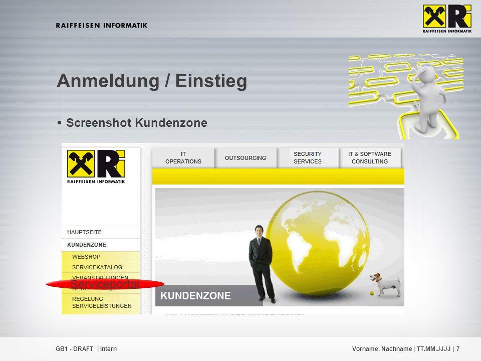 Vorname. Nachname | TT.MM.JJJJ |7GB1 - DRAFT | Intern  Screenshot Kundenzone Anmeldung / Einstieg Serviceportal