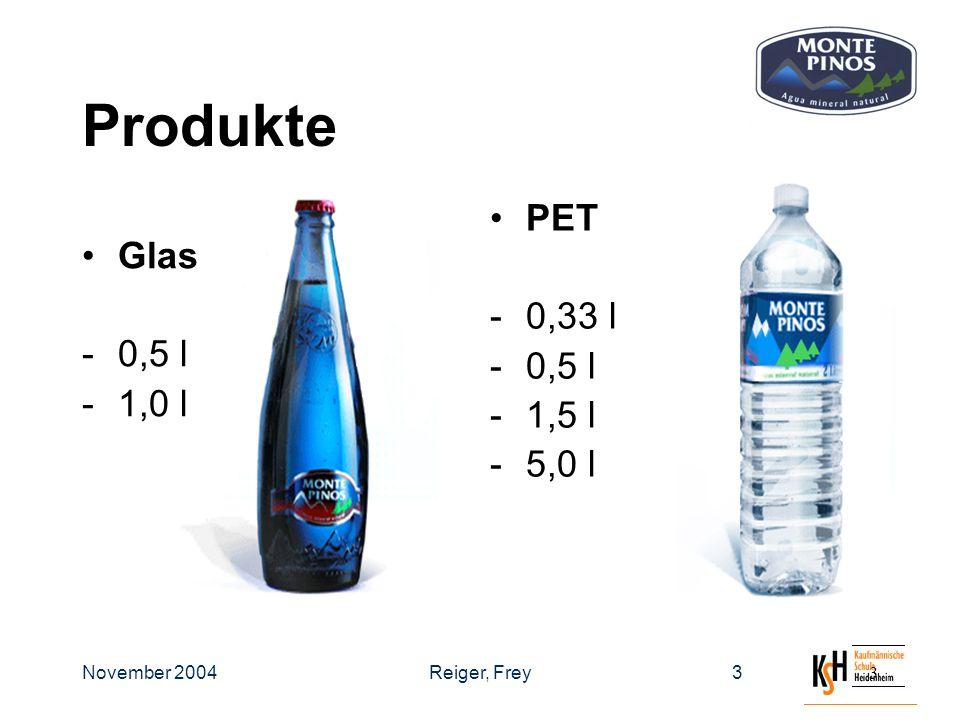 November 2004Reiger, Frey33 Produkte Glas -0,5 l -1,0 l PET -0,33 l -0,5 l -1,5 l -5,0 l