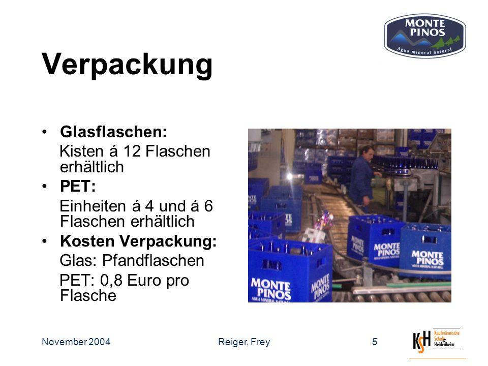 November 2004Reiger, Frey55 Verpackung Glasflaschen: Kisten á 12 Flaschen erhältlich PET: Einheiten á 4 und á 6 Flaschen erhältlich Kosten Verpackung: Glas: Pfandflaschen PET: 0,8 Euro pro Flasche