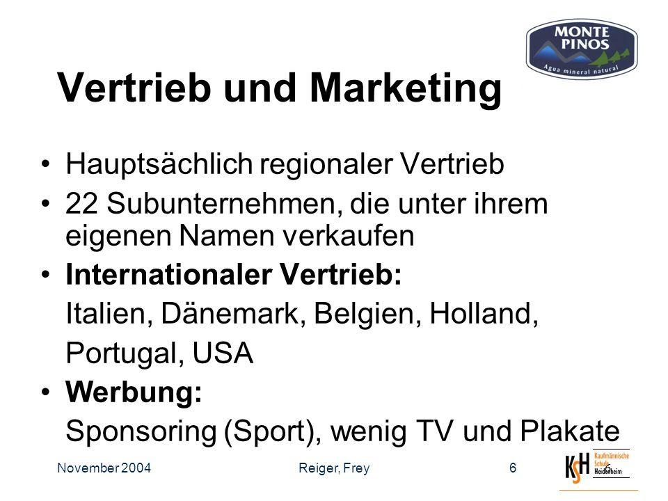 November 2004Reiger, Frey66 Vertrieb und Marketing Hauptsächlich regionaler Vertrieb 22 Subunternehmen, die unter ihrem eigenen Namen verkaufen Internationaler Vertrieb: Italien, Dänemark, Belgien, Holland, Portugal, USA Werbung: Sponsoring (Sport), wenig TV und Plakate