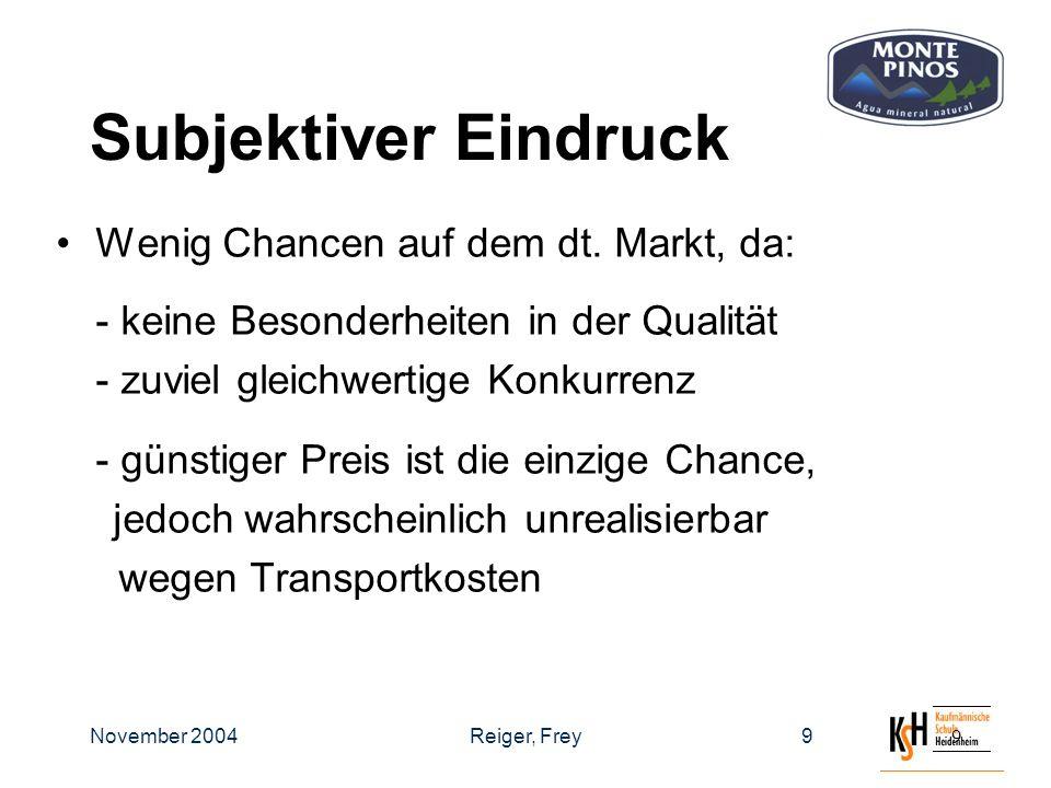 November 2004Reiger, Frey99 Subjektiver Eindruck Wenig Chancen auf dem dt.