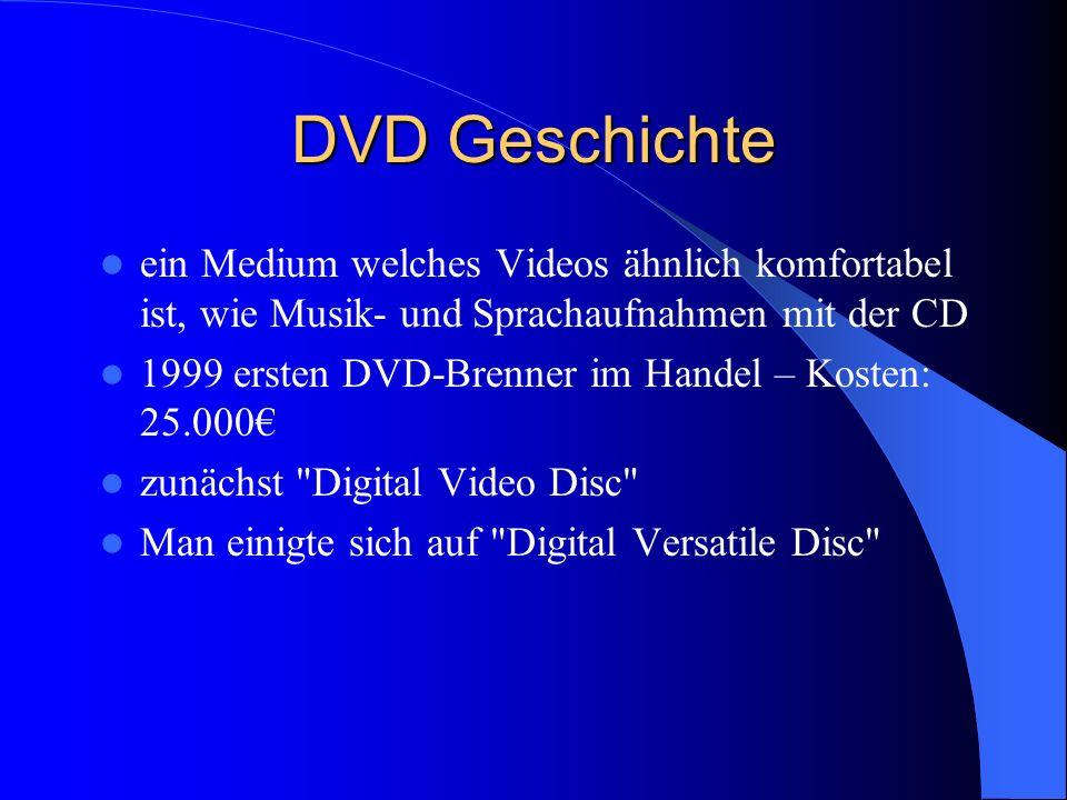 Kapazitäten und Formate DVD-5: 4,7 GB DVD-9:, 8,54 GB DVD-10: 9,4 GB DVD-14: 13,24 GB DVD-18: 17,08 GB DVD-Video DVD-Audio DVD-R DVD-RW DVD+R DVD+RW DVD-Ram DVD-RV