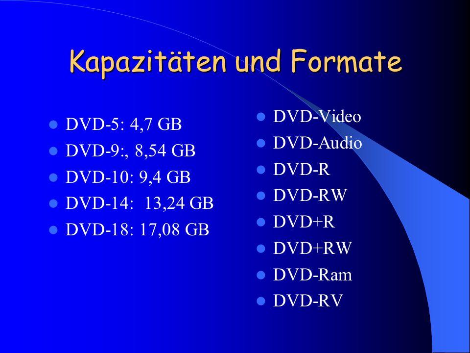 Kapazitäten und Formate DVD-5: 4,7 GB DVD-9:, 8,54 GB DVD-10: 9,4 GB DVD-14: 13,24 GB DVD-18: 17,08 GB DVD-Video DVD-Audio DVD-R DVD-RW DVD+R DVD+RW D