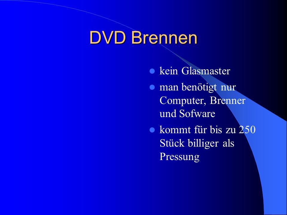 DVD Brennen kein Glasmaster man benötigt nur Computer, Brenner und Sofware kommt für bis zu 250 Stück billiger als Pressung