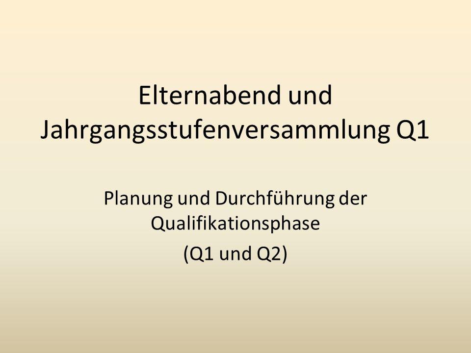 Elternabend und Jahrgangsstufenversammlung Q1 Planung und Durchführung der Qualifikationsphase (Q1 und Q2)