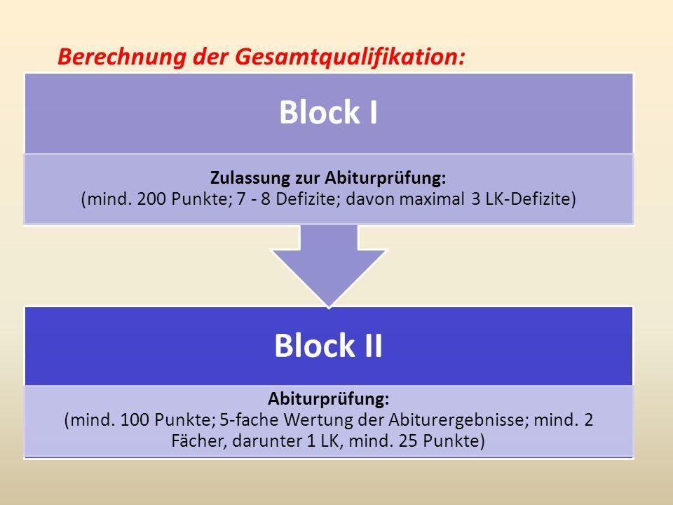 Berechnung der Gesamtqualifikation: Block II Abiturprüfung: (mind. 100 Punkte; 5-fache Wertung der Abiturergebnisse; mind. 2 Fächer, darunter 1 LK, mi