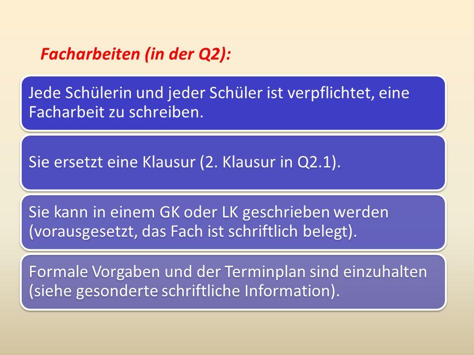 Facharbeiten (in der Q2): Jede Schülerin und jeder Schüler ist verpflichtet, eine Facharbeit zu schreiben. Sie ersetzt eine Klausur (2. Klausur in Q2.