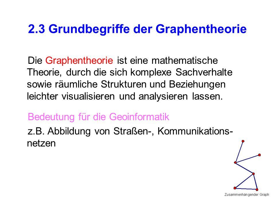 2.3 Grundbegriffe der Graphentheorie Die Graphentheorie ist eine mathematische Theorie, durch die sich komplexe Sachverhalte sowie räumliche Strukturen und Beziehungen leichter visualisieren und analysieren lassen.