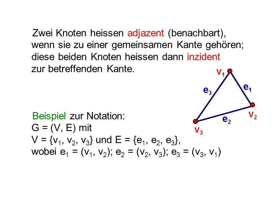 Zwei Knoten heissen adjazent (benachbart), wenn sie zu einer gemeinsamen Kante gehören; diese beiden Knoten heissen dann inzident zur betreffenden Kante.