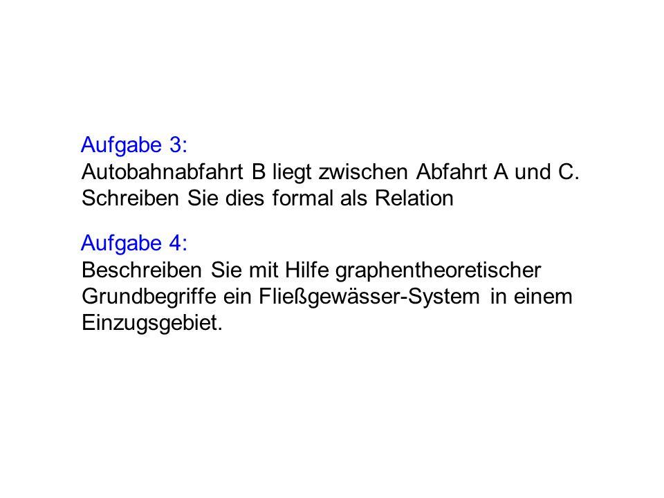 Aufgabe 3: Autobahnabfahrt B liegt zwischen Abfahrt A und C.