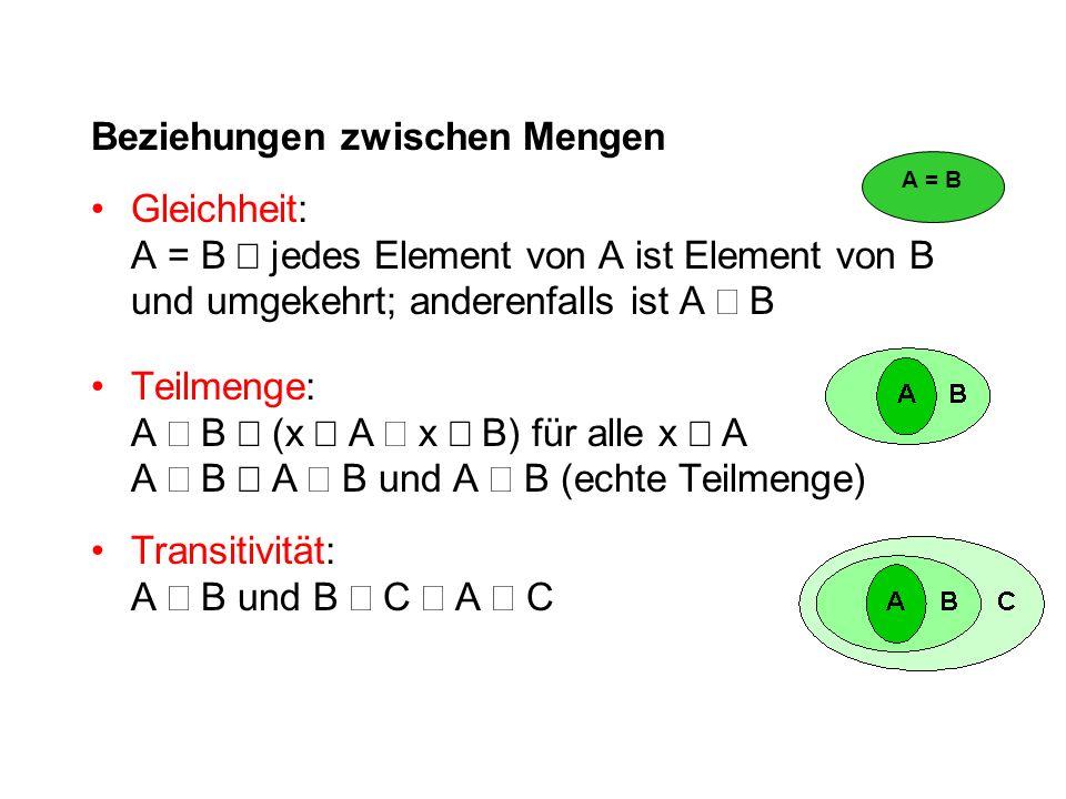 Beziehungen zwischen Mengen Gleichheit: A = B  jedes Element von A ist Element von B und umgekehrt; anderenfalls ist A  B Teilmenge: A  B  (x  A  x  B) für alle x  A A  B  A  B und A  B (echte Teilmenge) Transitivität: A  B und B  C  A  C A = B
