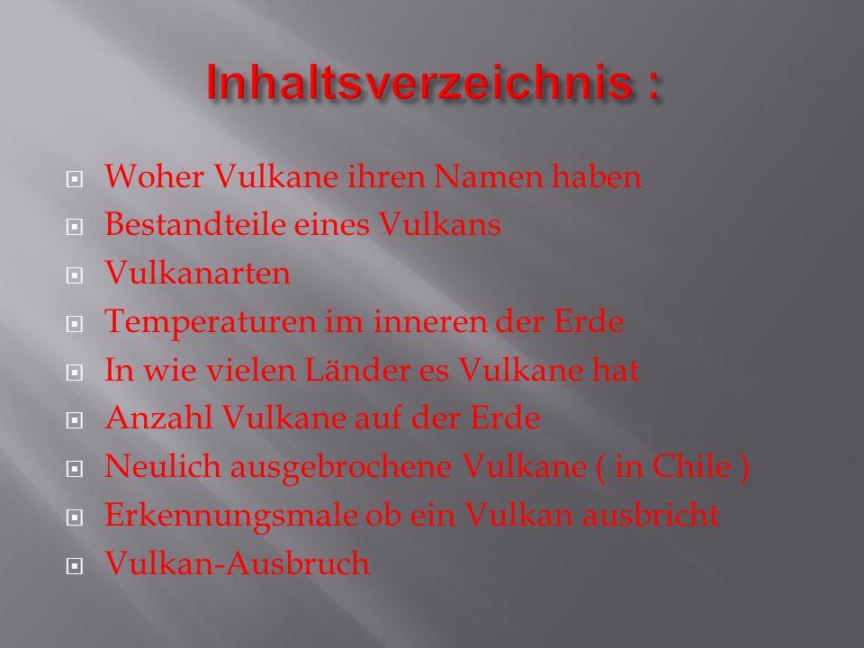 Vulkane haben ihren Namen von dem römischen Gott des Feuers und der Schmiedekunst VULCANUS.