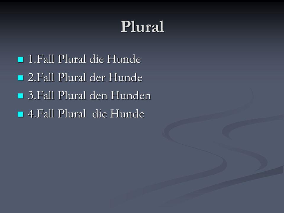 Plural 1.Fall Plural die Hunde 1.Fall Plural die Hunde 2.Fall Plural der Hunde 2.Fall Plural der Hunde 3.Fall Plural den Hunden 3.Fall Plural den Hund