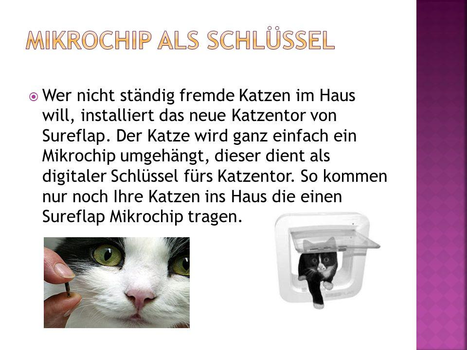 Wer nicht ständig fremde Katzen im Haus will, installiert das neue Katzentor von Sureflap. Der Katze wird ganz einfach ein Mikrochip umgehängt, dies