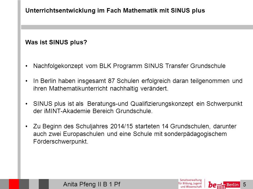 5 Unterrichtsentwicklung im Fach Mathematik mit SINUS plus Was ist SINUS plus? Nachfolgekonzept vom BLK Programm SINUS Transfer Grundschule In Berlin