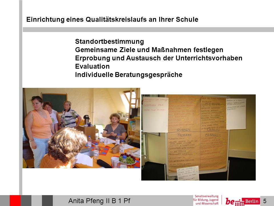5 Einrichtung eines Qualitätskreislaufs an Ihrer Schule Standortbestimmung Gemeinsame Ziele und Maßnahmen festlegen Erprobung und Austausch der Unterrichtsvorhaben Evaluation Individuelle Beratungsgespräche Anita Pfeng II B 1 Pf