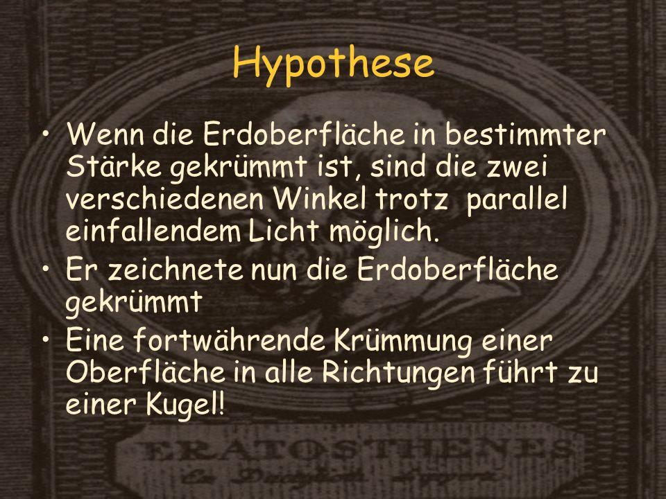 Hypothese Wenn die Erdoberfläche in bestimmter Stärke gekrümmt ist, sind die zwei verschiedenen Winkel trotz parallel einfallendem Licht möglich.