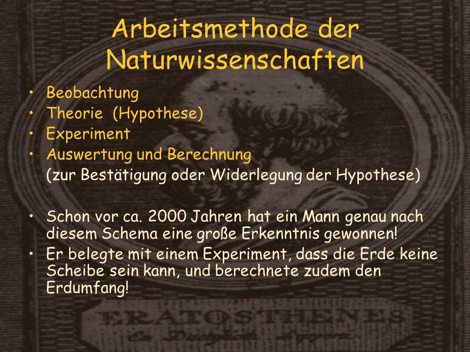Arbeitsmethode der Naturwissenschaften Beobachtung Theorie (Hypothese) Experiment Auswertung und Berechnung (zur Bestätigung oder Widerlegung der Hypothese) Schon vor ca.