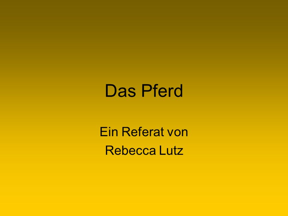 Das Pferd Ein Referat von Rebecca Lutz