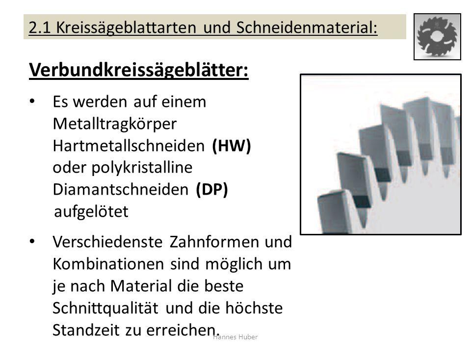 2.1 Kreissägeblattarten und Schneidenmaterial: Verbundkreissägeblätter: Es werden auf einem Metalltragkörper Hartmetallschneiden (HW) oder polykristal