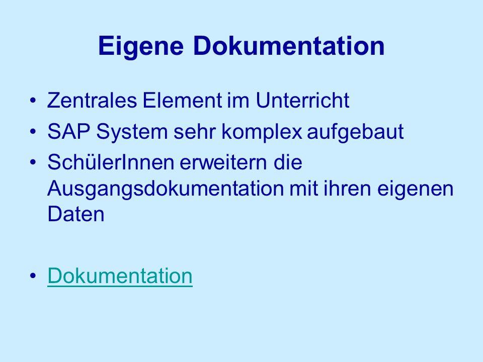 Eigene Dokumentation Zentrales Element im Unterricht SAP System sehr komplex aufgebaut SchülerInnen erweitern die Ausgangsdokumentation mit ihren eige
