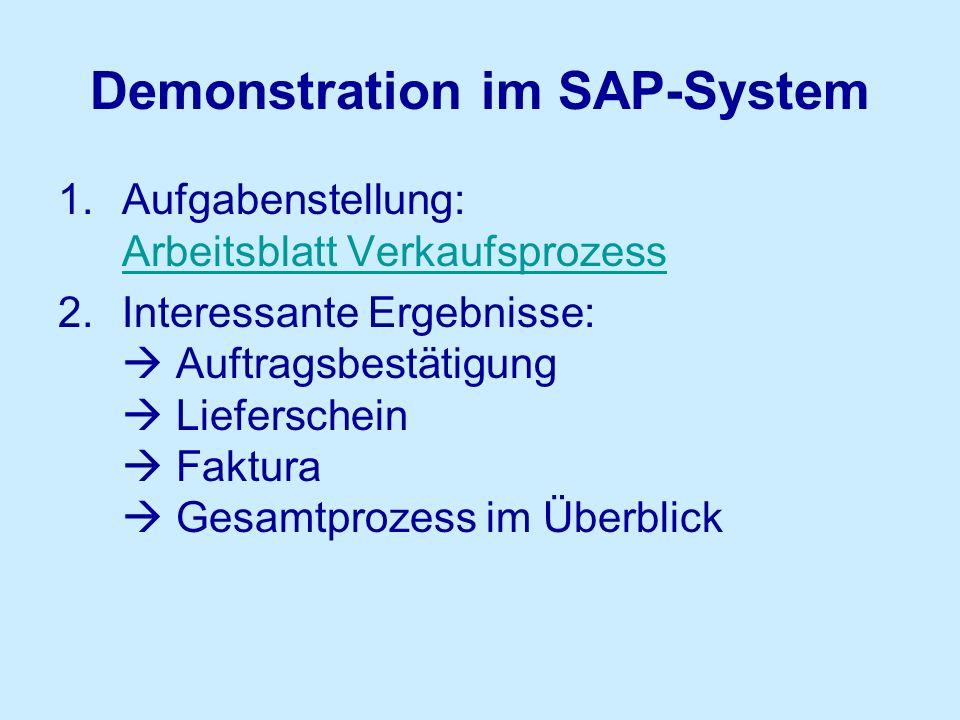 Demonstration im SAP-System 1.Aufgabenstellung: Arbeitsblatt Verkaufsprozess Arbeitsblatt Verkaufsprozess 2.Interessante Ergebnisse:  Auftragsbestäti