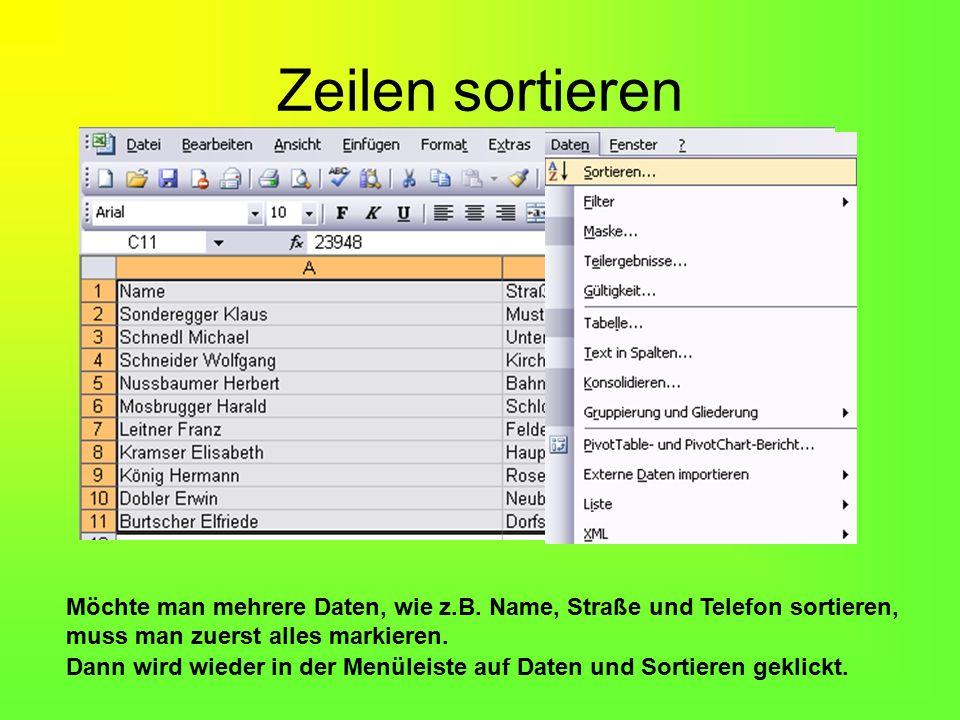 Nun ist es geschickt, wenn man im Datenbereich (links unten im Bild) eine Überschrift einfügt.