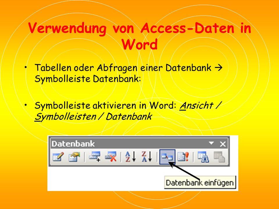 Auswirkungen auf Word Datei Es wird nur die verknüpfte Tabelle aktualisiert!