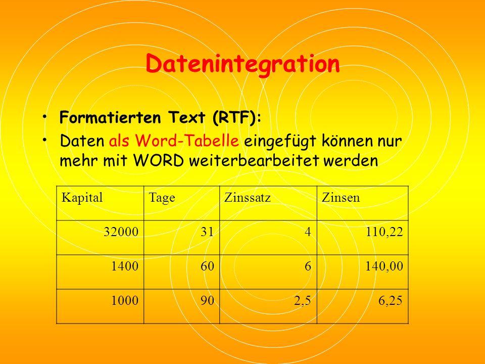 Datenintegration Formatierten Text (RTF): Daten als Word-Tabelle eingefügt können nur mehr mit WORD weiterbearbeitet werden KapitalTageZinssatzZinsen 32000314110,22 1400606140,00 1000902,56,25