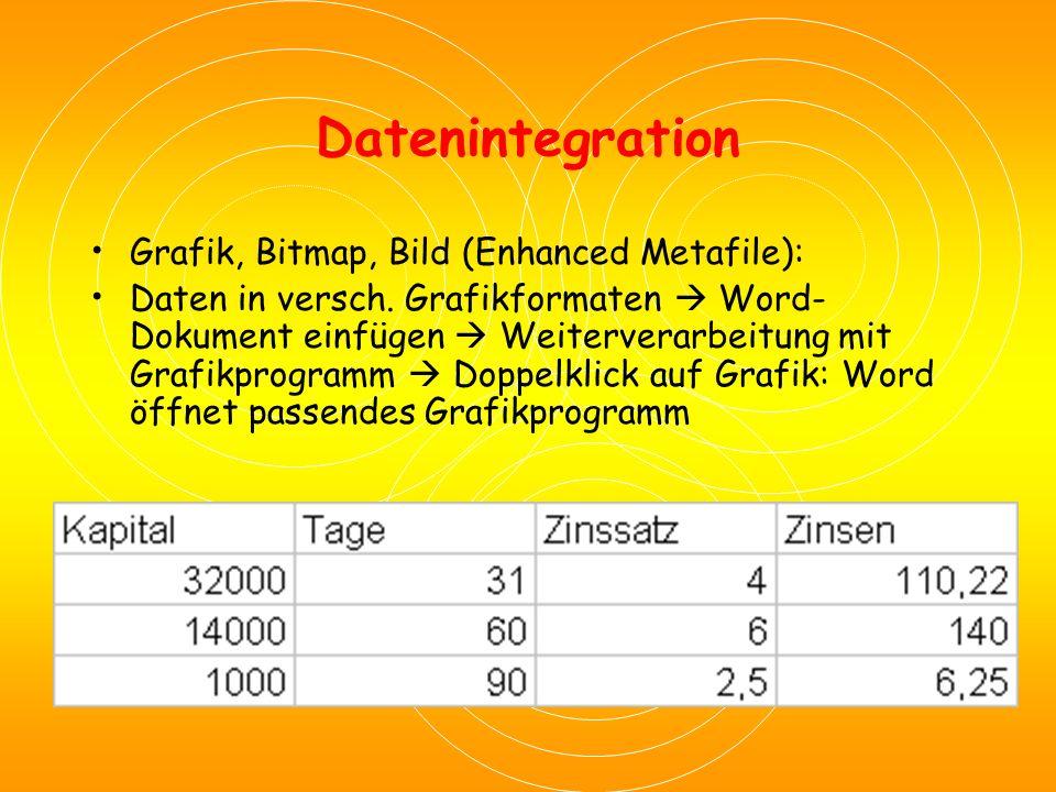 Datenintegration Unformatierten Text: Ohne Zeichen- und Tabellenformatierung  Weiterbearbeitung im Word KapitalTageZinssatzZinsen 32000314110,22 1400606 140,00 1000902,56,25