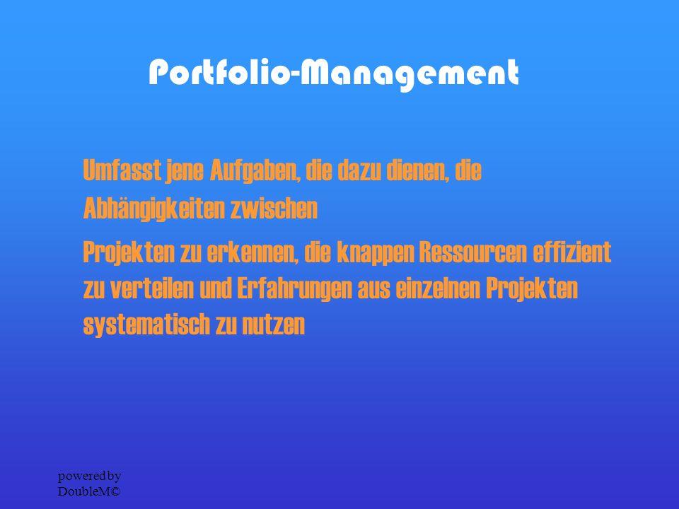 powered by DoubleM© Ziel und Nutzen des Projektportfolio-Managements Auswahl und Initialisierung derjenigen Projekte, die für den kurz-, mittel- und langfristigen Geschäftserfolg notwendig sind Visualisierung von Abhängigkeiten zwischen Projekten Erkennen von Zielkonflikten zwischen Projekten
