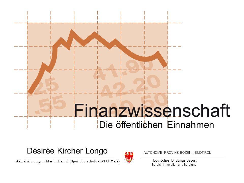 Deutsches Bildungsressort Bereich Innovation und Beratung AUTONOME PROVINZ BOZEN - SÜDTIROL Die öffentlichen Einnahmen Désirée Kircher Longo
