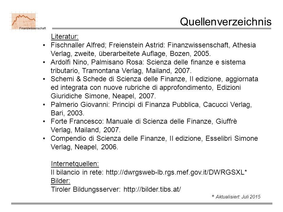 Quellenverzeichnis Literatur: Fischnaller Alfred; Freienstein Astrid: Finanzwissenschaft, Athesia Verlag, zweite, überarbeitete Auflage, Bozen, 2005.
