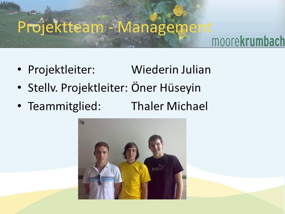 Projektteam - Management Projektleiter:Wiederin Julian Stellv.