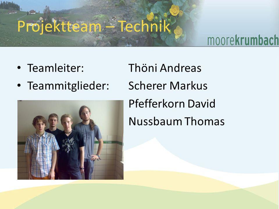 Projektteam – Technik Teamleiter: Thöni Andreas Teammitglieder:Scherer Markus Pfefferkorn David Nussbaum Thomas