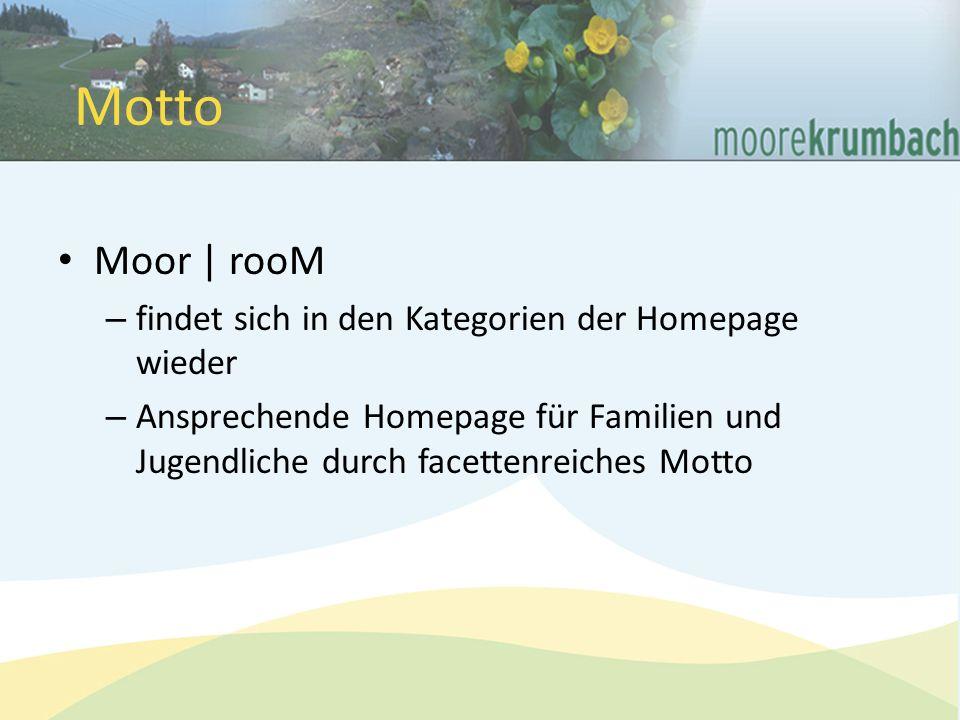 Moor | rooM – findet sich in den Kategorien der Homepage wieder – Ansprechende Homepage für Familien und Jugendliche durch facettenreiches Motto Motto