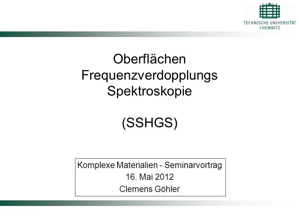Oberflächen Frequenzverdopplungs Spektroskopie (SSHGS) Komplexe Materialien - Seminarvortrag 16. Mai 2012 Clemens Göhler