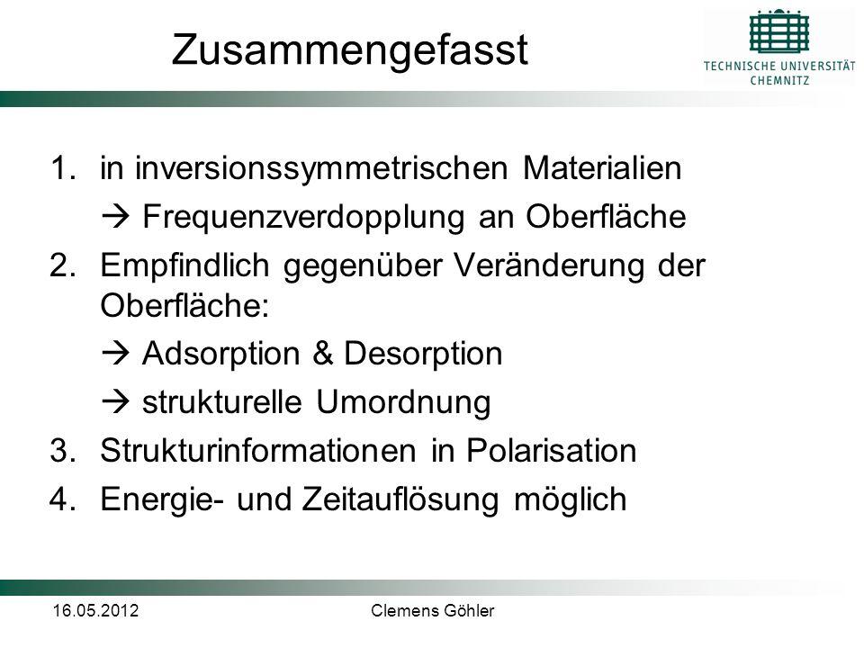 16.05.2012Clemens Göhler Zusammengefasst 1.in inversionssymmetrischen Materialien  Frequenzverdopplung an Oberfläche 2.Empfindlich gegenüber Veränder