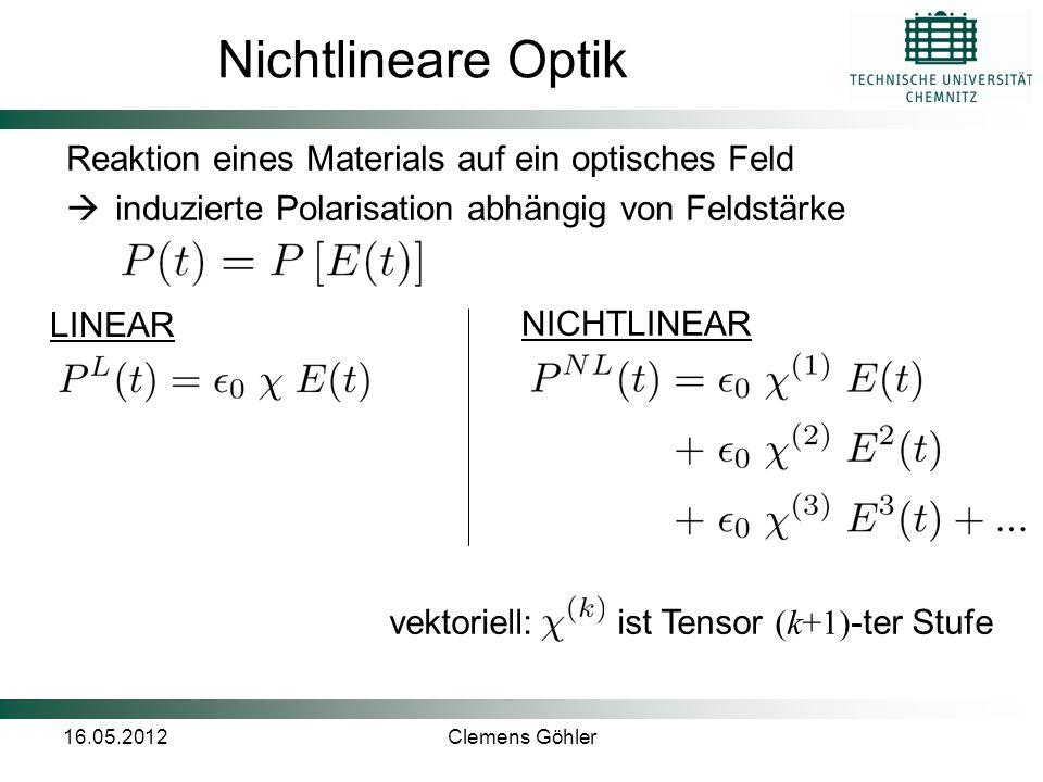 16.05.2012Clemens Göhler Frequenzverdopplung (SHG) Einlaufendes optisches Feld: Anregung von Moleküle/Teilchen zu Dipoloszillationen Nichtlinearer Effekt 2.