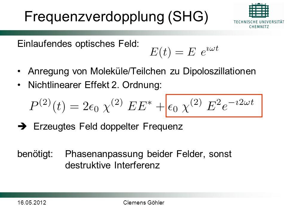 16.05.2012Clemens Göhler Frequenzverdopplung (SHG) Einlaufendes optisches Feld: Anregung von Moleküle/Teilchen zu Dipoloszillationen Nichtlinearer Eff
