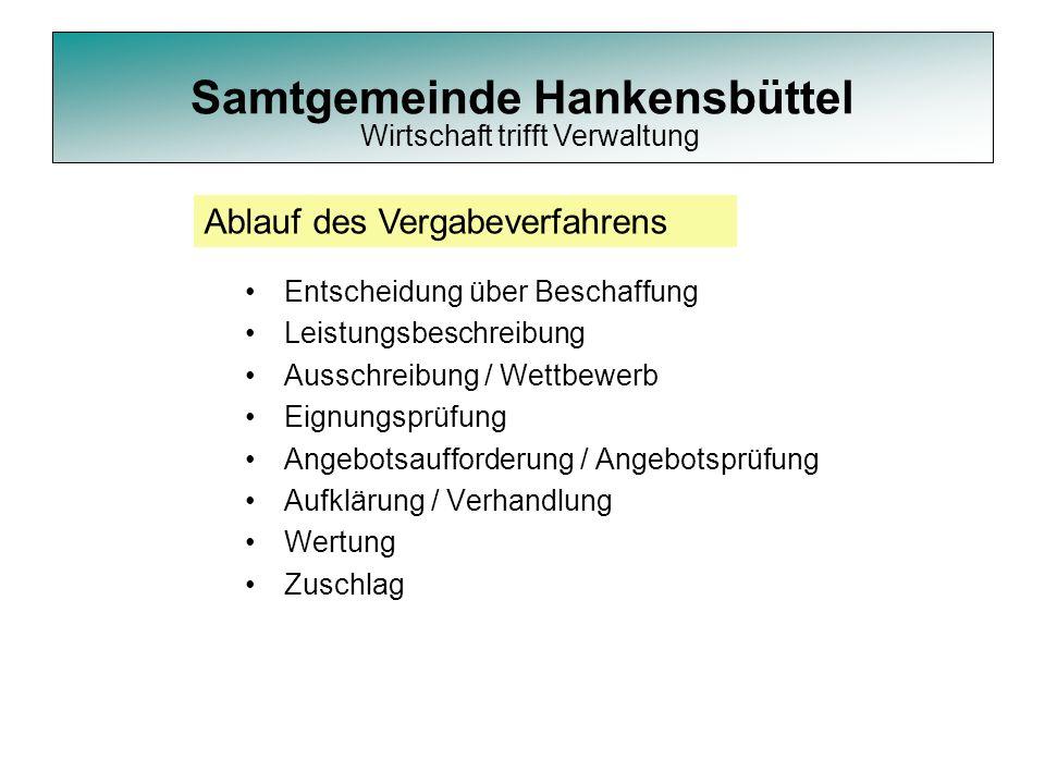Samtgemeinde Hankensbüttel Entscheidung über Beschaffung Leistungsbeschreibung Ausschreibung / Wettbewerb Eignungsprüfung Angebotsaufforderung / Angeb