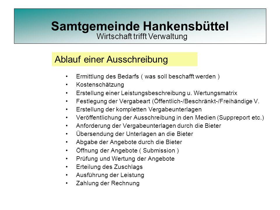 Samtgemeinde Hankensbüttel Ermittlung des Bedarfs ( was soll beschafft werden ) Kostenschätzung Erstellung einer Leistungsbeschreibung u. Wertungsmatr