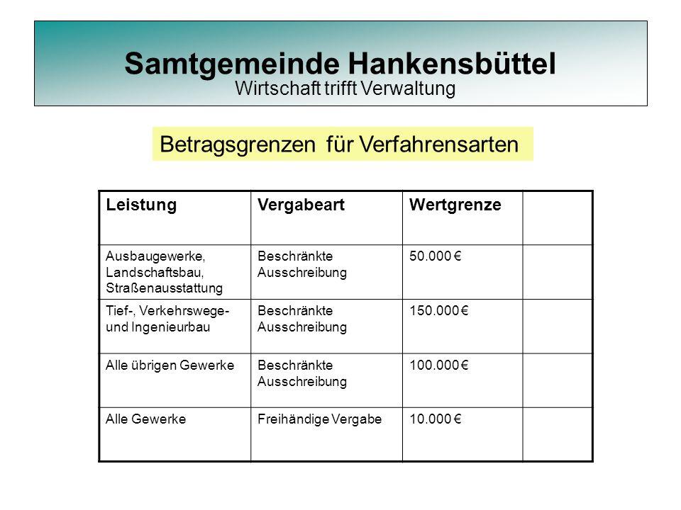 Samtgemeinde Hankensbüttel Betragsgrenzen für Verfahrensarten LeistungVergabeartWertgrenze Ausbaugewerke, Landschaftsbau, Straßenausstattung Beschränk