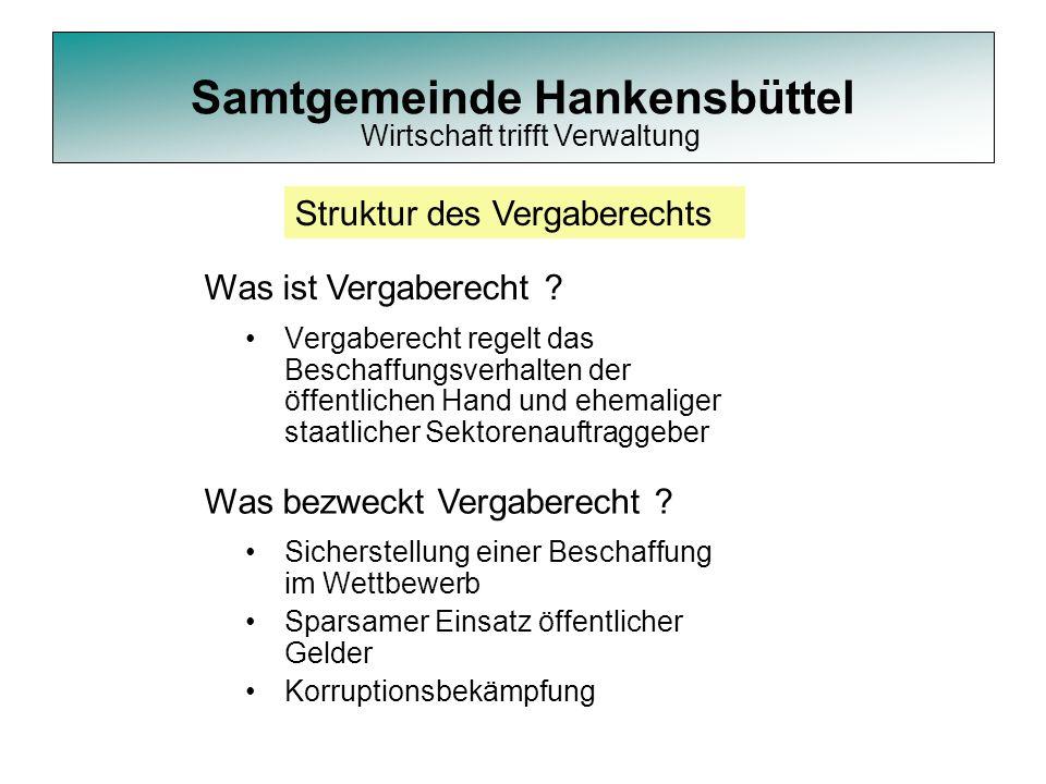Samtgemeinde Hankensbüttel Vergaberecht regelt das Beschaffungsverhalten der öffentlichen Hand und ehemaliger staatlicher Sektorenauftraggeber Struktu