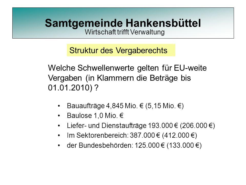Samtgemeinde Hankensbüttel Bauaufträge 4,845 Mio. € (5,15 Mio. €) Baulose 1,0 Mio. € Liefer- und Dienstaufträge 193.000 € (206.000 €) Im Sektorenberei