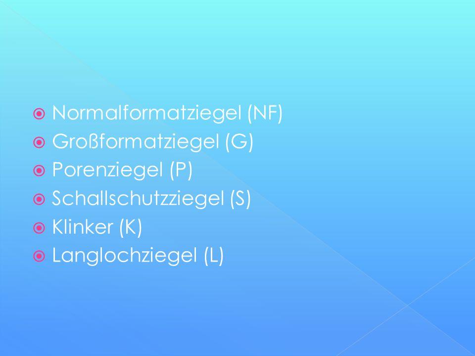  Normalformatziegel (NF)  Großformatziegel (G)  Porenziegel (P)  Schallschutzziegel (S)  Klinker (K)  Langlochziegel (L)